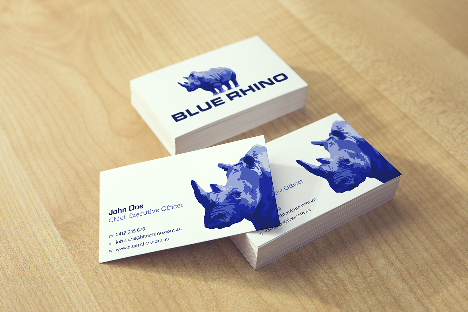 Blue Rhino business cards designed by Six Foot Seven