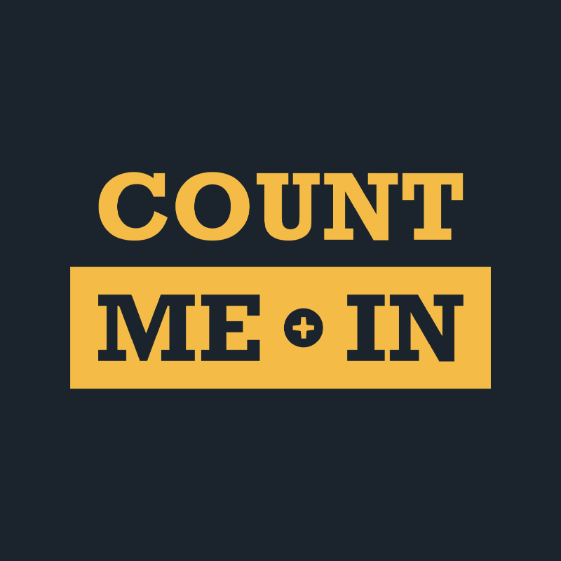 Count Me In yellow logo stacked