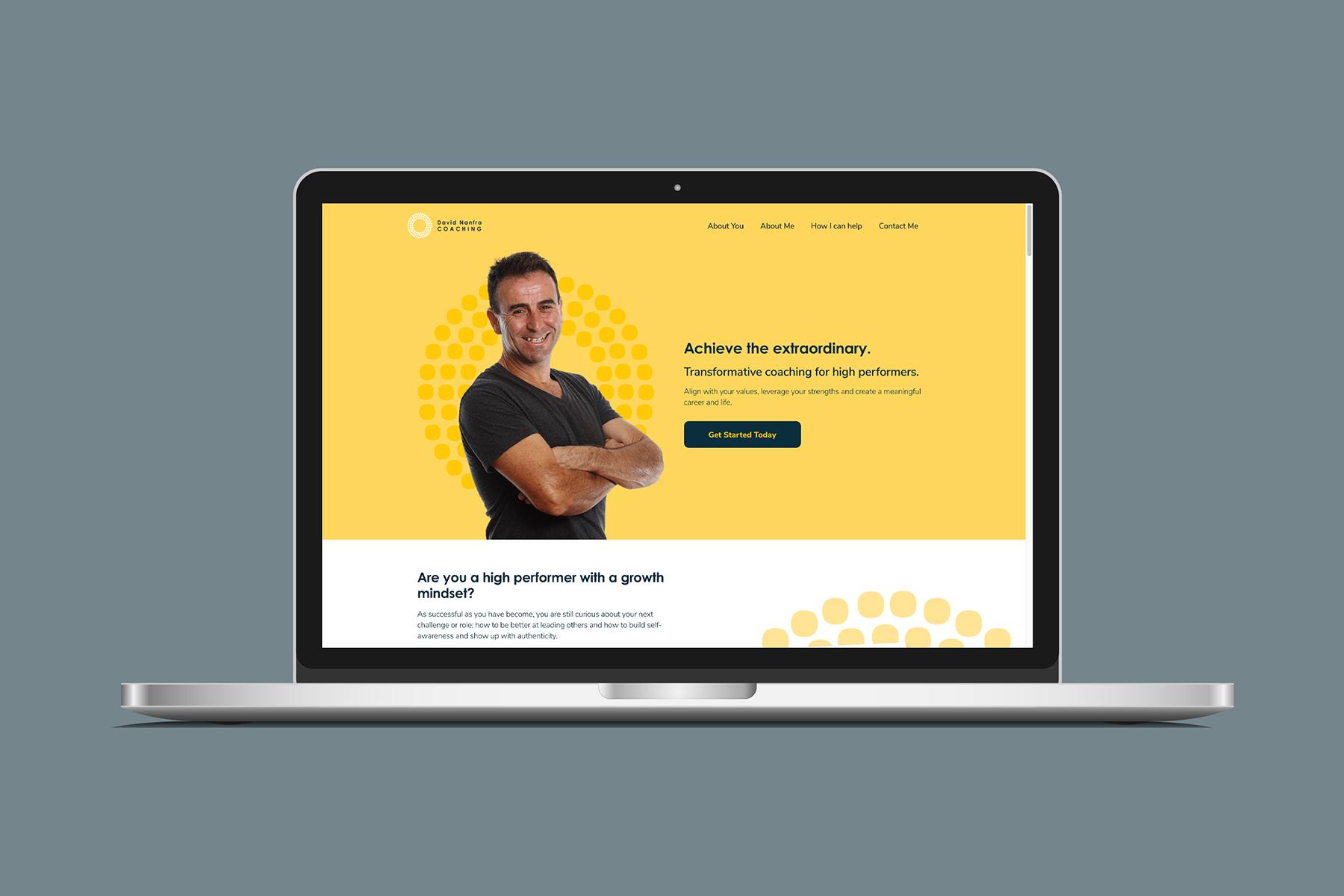 David Nanfra Coaching Website on MacBook