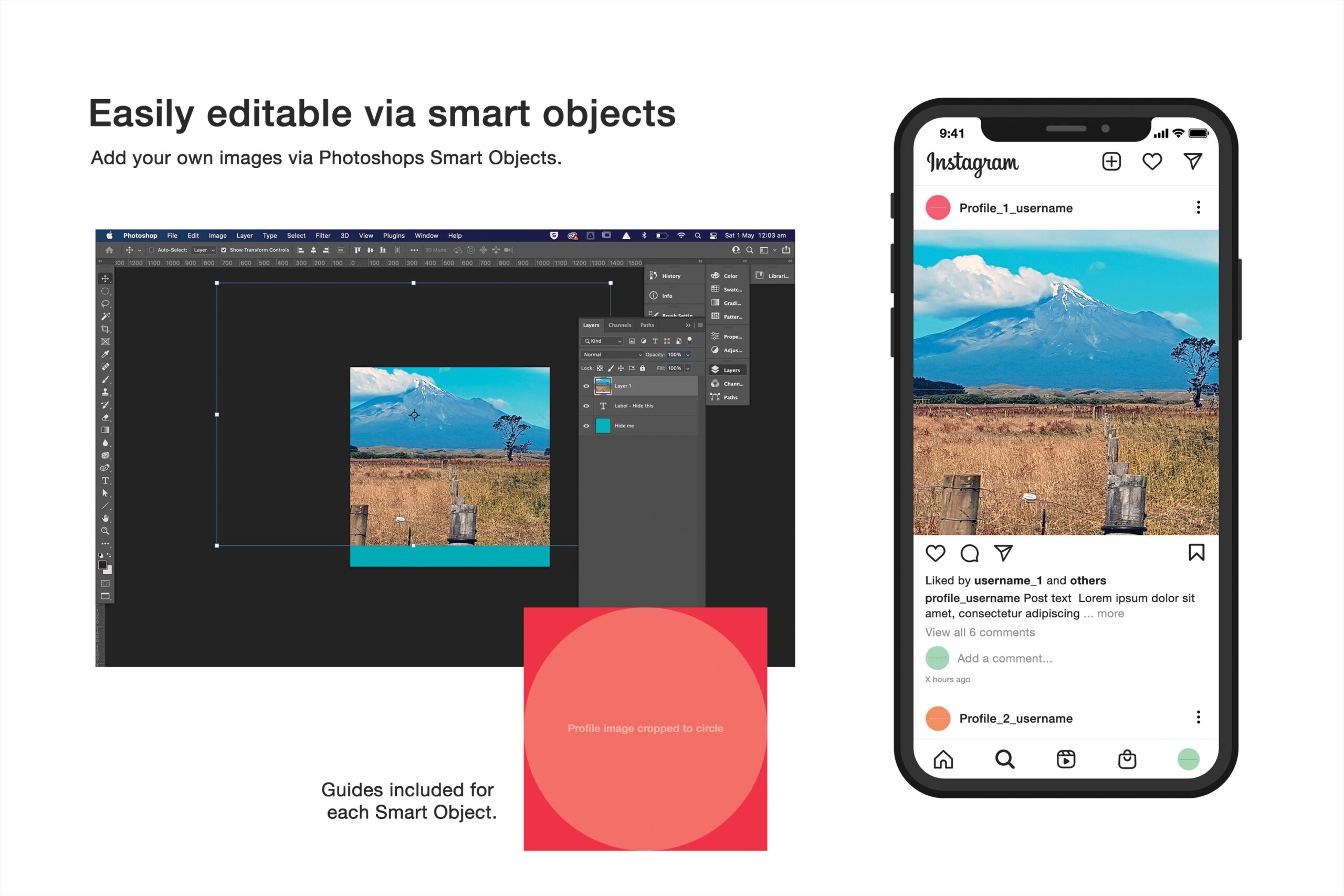 Free Instagram Mockup editable via smart objects