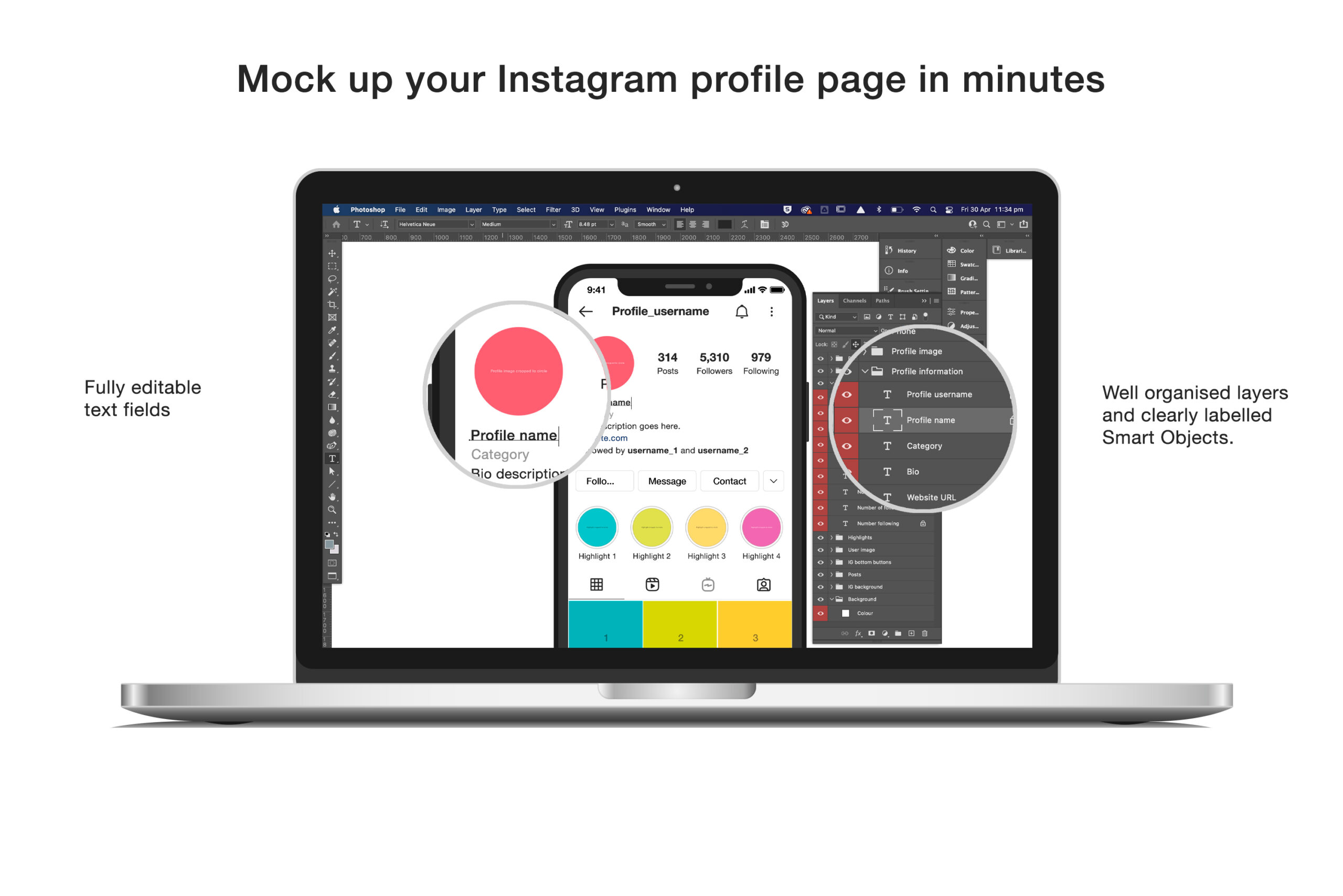 Free Instagram Mockup with fully editable text fields