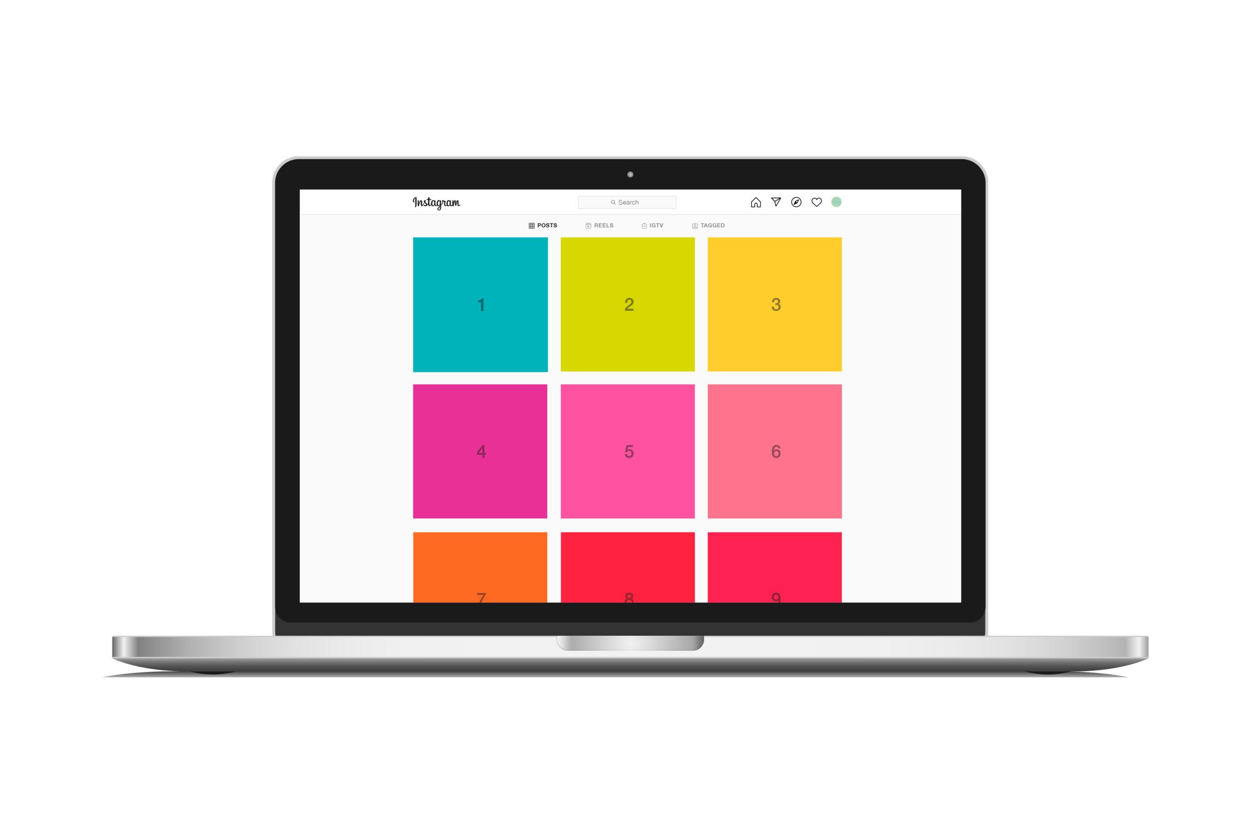 Free Instagram Mockup on MacBook laptop