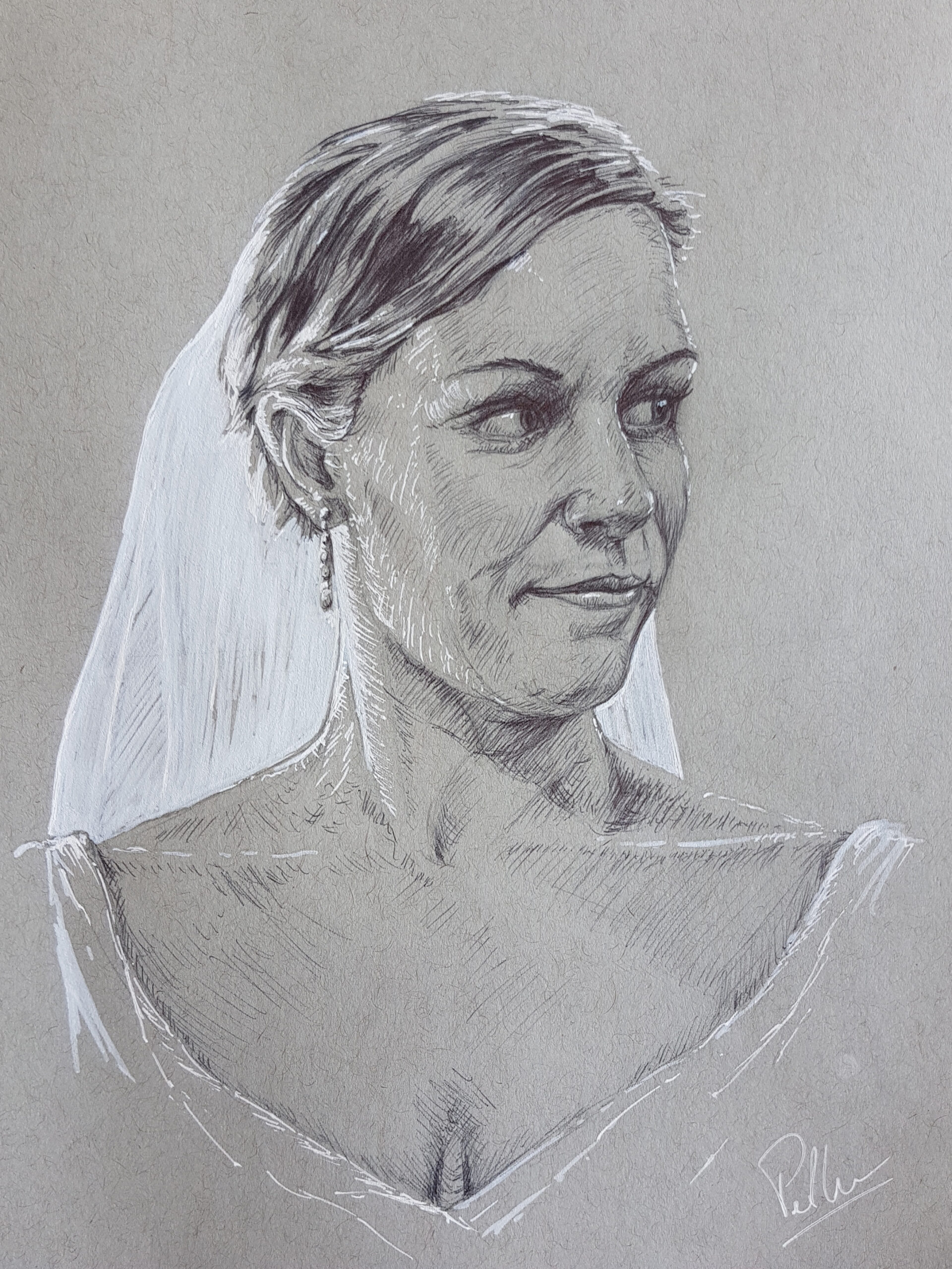 Kristie, the beautiful bride - pen and ink illustration by Six Foot Seven